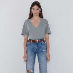 Zara Faded Mint Green Tee XS/Small